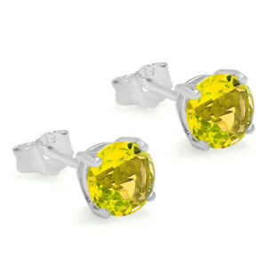 Details About November Birthstone Yellow Topaz Cz Solitaire Stud Earrings 925 Sterling Silver