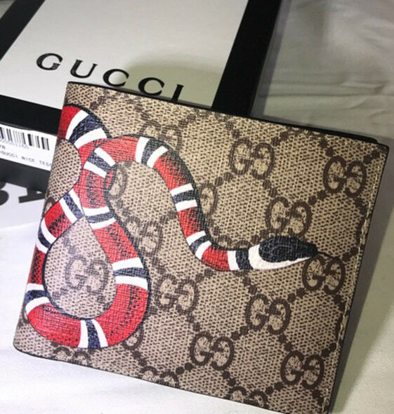 a6a1899cfdd GUCCI LEATHER WALLET KING SNAKE PRINT GG SUPREME BEIGE WALLET ...