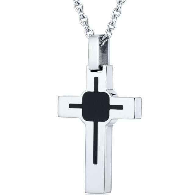 Stainless Steel CZs Cross Pendant 22in Necklace Length 22 Width