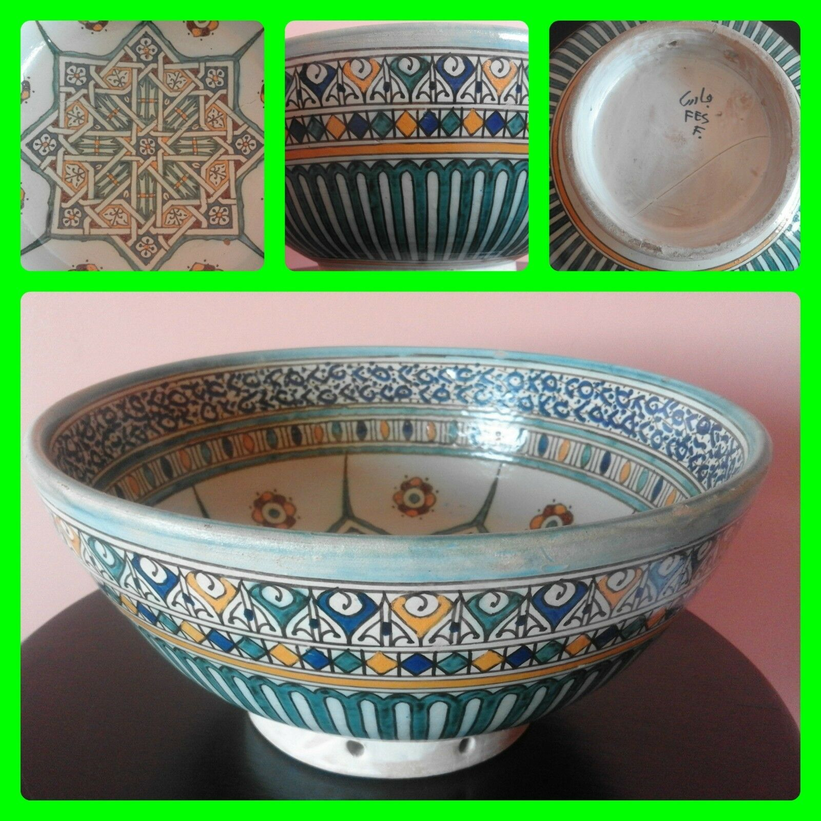 Vintage Marocain Big céramique assiette bol salade pates soupe de fruits Riz Plat 12.6 in (environ 32.00 cm)