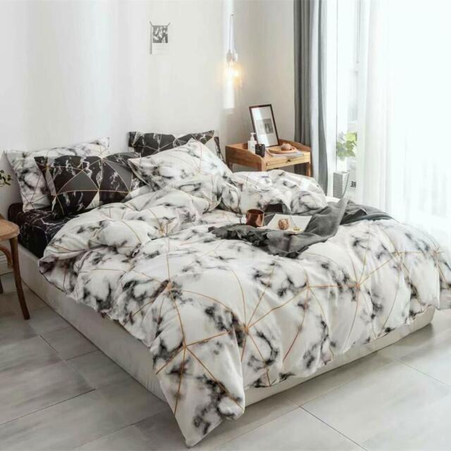 White Marble Comforter Set Queen Gold Geometric Comforter Full