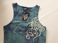 Harley Davidson Size M Tank Top Blue Jeweled Tie Dye Cotton/spandex