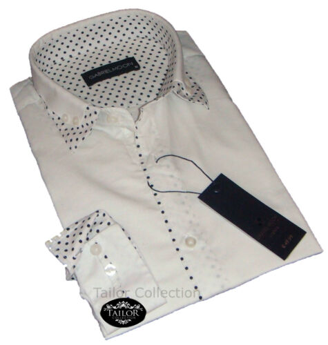 Brand New Mens Formal Smart White and Black Dots Double Collar Slim Fit Shirt