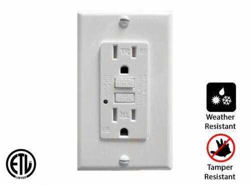 3 Teklectric 15A GFCI Receptacle Tamper /& Weather Resistant ETL Listed Outlet