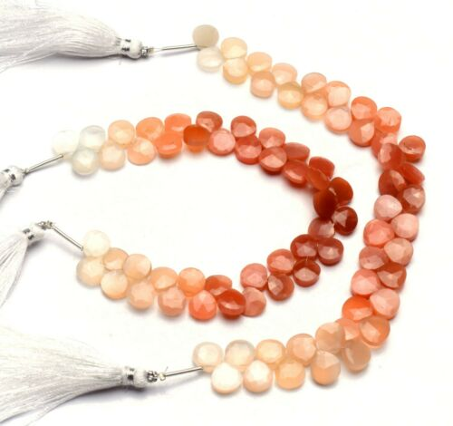"""Details about  /Natural Gem Peach Color Moonstone Faceted 8mm Size Heart Shape Beads 8/"""" Strand"""