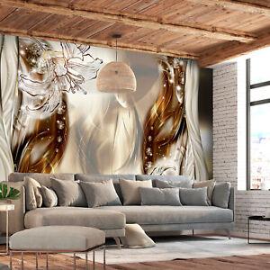 Details zu VLIES FOTOTAPETE Blumen Lilien beige Abstrakt Stahl TAPETE  Wohnzimmer Wandbilder