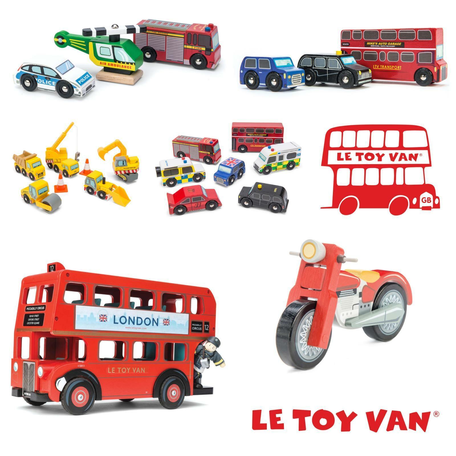 Le Toy Van Véhicules Bois Enfants Jouets Éducatif Voiture Bus Moto Excavatrice