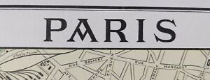 Vintage-1900-PARIS-FRANCE-Map-11-034-x14-034-Old-Antique-Original-EIFFEL-TOWER-LOUVRE