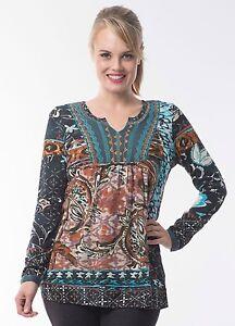 Orientique-Hussain-Boho-Ladies-Long-Sleeve-Tunic-Blue-Grey-Aqua-Size-10-14-16-18