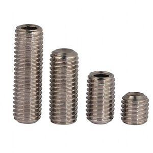 A4 Stainless 316 Cone Point Grub Screws Hex Socket Set Screw M3 M4 M5 M6 M8 M10