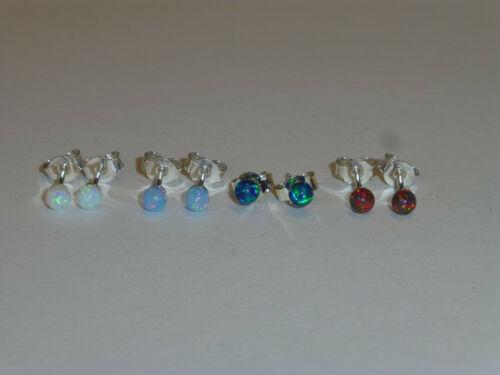 Größen Opal Kugel Ohrstecker Silber 925 synth viele Farben u