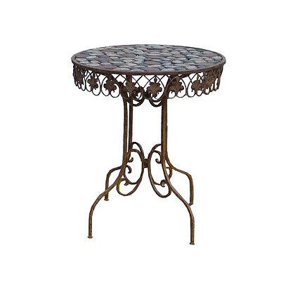 Table De Jardin En Fer Antique Style Art Meubles Shabby Chic Metal Rond Maison