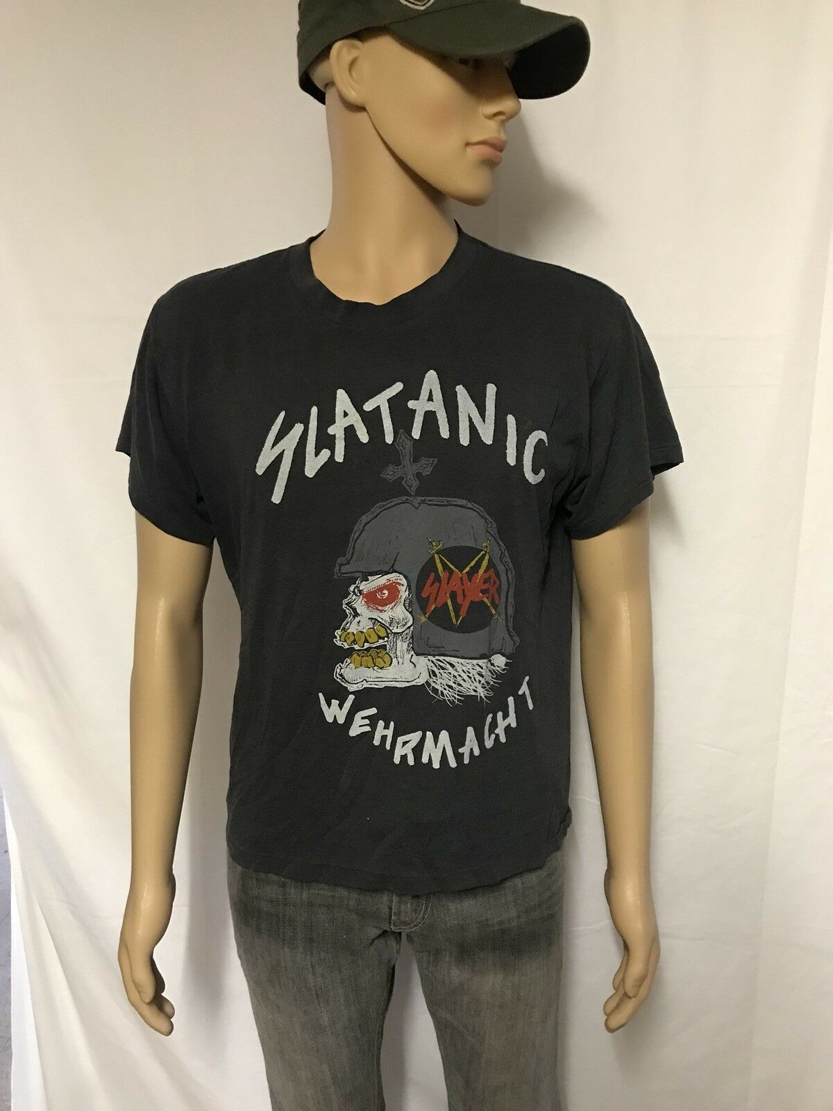 Vintage Slayer Slatanic Wehrmacht 1985 tour shirt original Thrash Metal