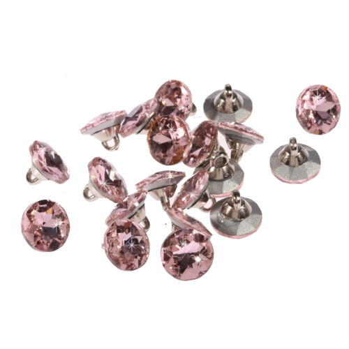 20pcs x 12 mm Rose Round Cristal Strass à facettes cristal Strass Boutons