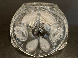 Vtg-Frosted-Crystal-Cut-Glass-Floral-Ribbed-Lamp-Shade-Globe-Sunflower
