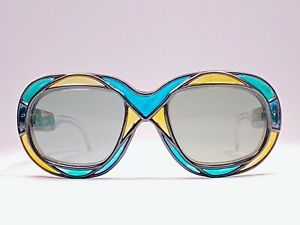 VINTAGE-MICHELLE-BREVET-1950-039-S-STAINED-GLASS-BLUE-amp-YELLOW-SQ-SUNGLASSES-FRANCE