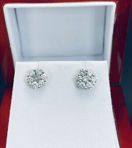 10k White Gold .82ctw Diamond Cluster Flower Earrings  F58
