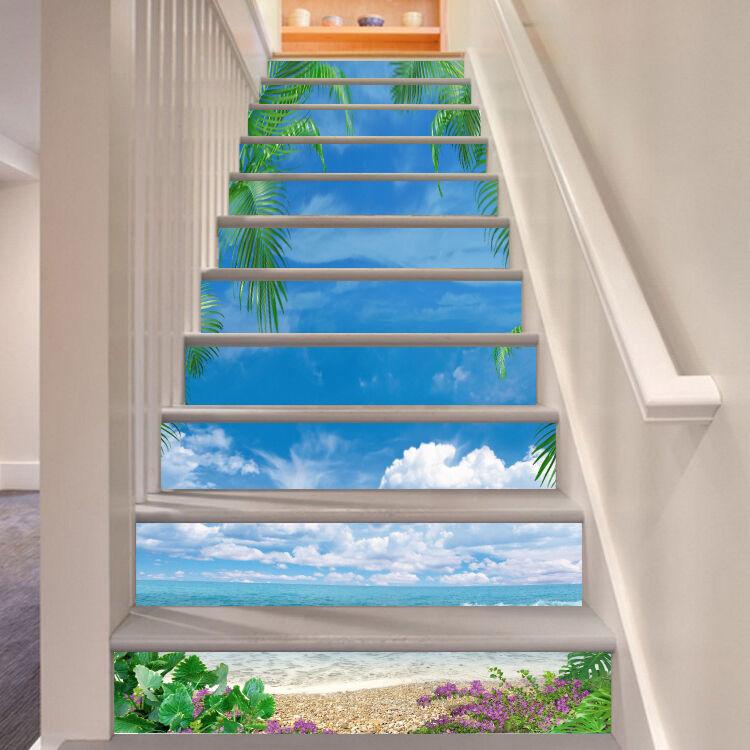 3D Sky Beach 4 Stair Risers Decoration Photo Mural Vinyl Decal Wallpaper UK