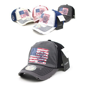 40be7ad99 Details about Unisex Mens Womens Flipper Ripped American Flag Baseball Cap  Casual Trucker Hats