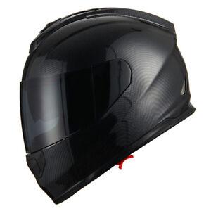 1Storm-DOT-Motorcycle-Full-Face-Helmet-Dual-Lens-Sun-Visor-Carbon-Fiber-Black