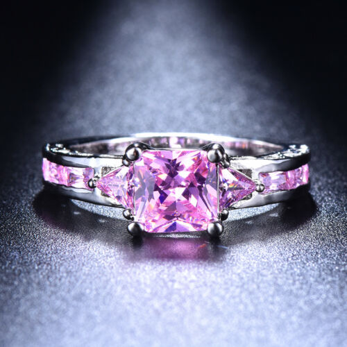 Womens 925 Silver Princess Cut Sapphire Ruby Emerald Crystal Rings Wedding Gifts