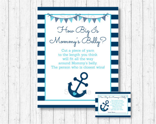 Nautical Anchor How Big Is Mommys Belly Baby Shower Game