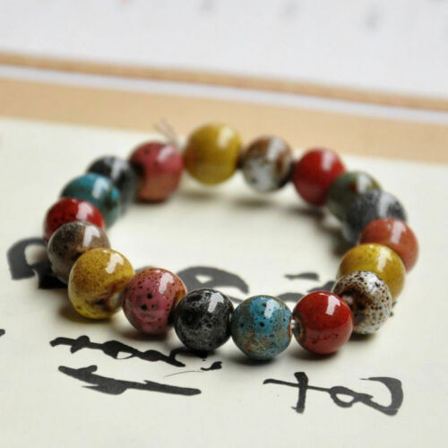 Mens Bracelet Square Women Round Jewelry Chain Beads Ceramic Summer Hand Charm