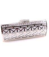 Silver Evening Bag Clutch Metal Accents Rhinestone Clasp