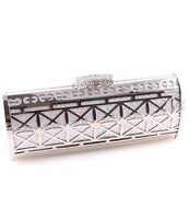 Silver Evening Bag Clutch Metal Accents Rhinestone Clasp