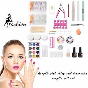 Acrylic-Glitter-Powder-Nail-Art-Manicure-Tool-Tips-Brush-DIY-Pro-Full-Kit-Set