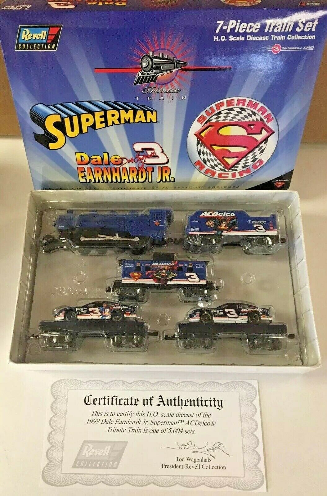 MIB Dale Earnhardt Jr. 7 Piece Superman Train Set Revell Collection QVC