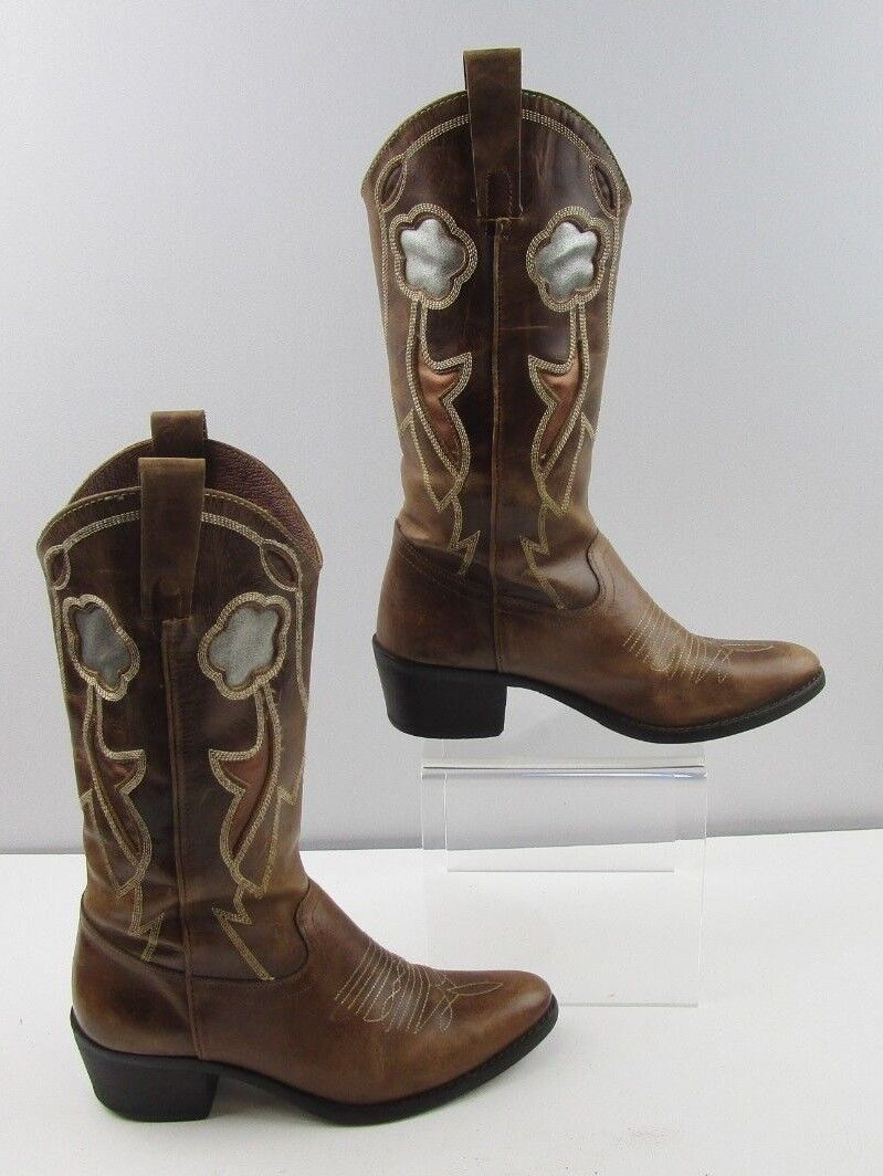 Ladies Brown Leather Cowgirl Boots Size   6.5 M