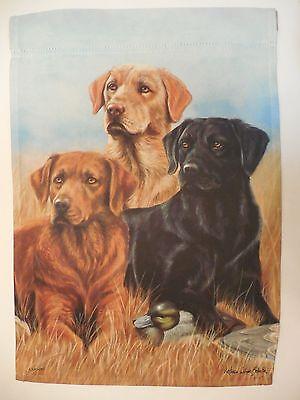 Labrador Retriever Puppies Multiple Lab Dogs play w Garden gloves HOUSE Flag