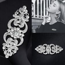"3.15"" Large Silver Flower Diamante Crystal Pin Brooch Wedding Art Vintage Broach"