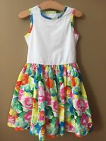 Girls 6 Lands End White Multi Floral Woven Dress $49 Sleeveless Lined