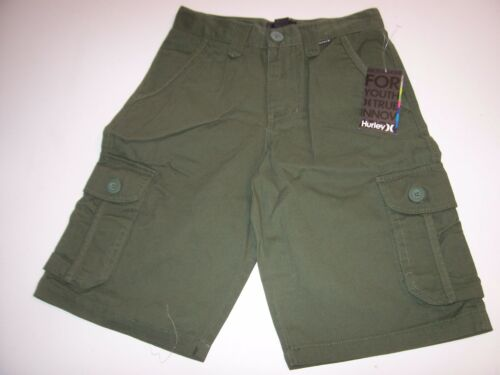 NEW Hurley solid olive green khaki chino cargo shorts boys youth 5 6 8 10
