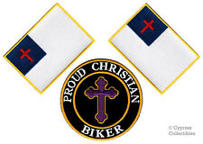 LOT of 3 PROUD CHRISTIAN BIKER PATCH FLAG RELIGIOUS new embroidered IRON-ON