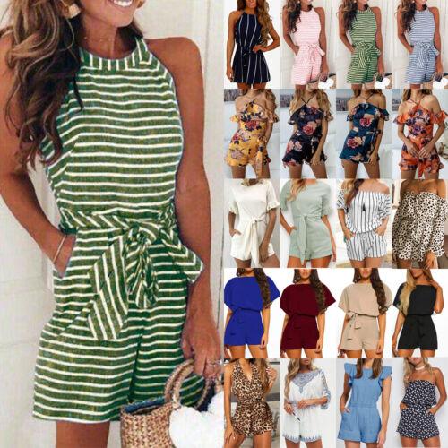 Damen Kurz Hosenanzug Strandhose Sommer Schulterfrei Jumpsuit Overall Minikleid
