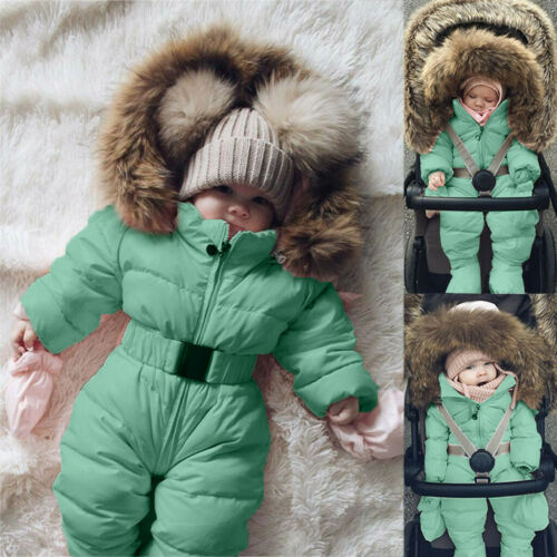 Infant Baby Boys Girls Winter Romper Jacket Hooded Warm Thick Coat Outerwear US