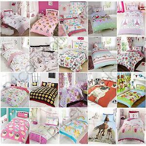 GIRLS-SINGLE-DUVET-COVER-SETS-BEDDING-UNICORN-FLOWER-HORSE-HEART-ELEPHANTS-CATS