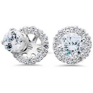 Women's 3/4ct Diamond Studs & Earring Halo Jackets Solid 14k White Gold