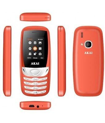 AKAI TELEFONO CELLULARE semplice Dual Sim WHITE RED TELEFONO