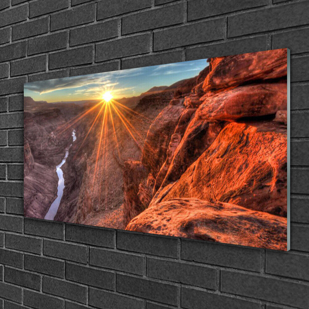 Tableau sur verre Image Impression 100x50 Paysage Désert Soleil