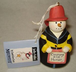 Midwest Cannon Falls Policeman Snowman Ornament Jolly Follies Sandi Gore Evans