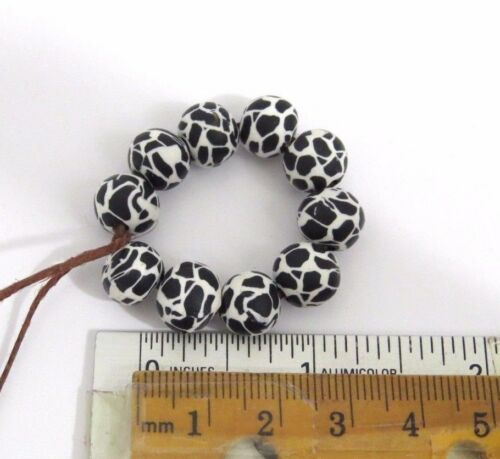 Black and white beads 10 pieces animal print DIY Crafts Beads clay beads