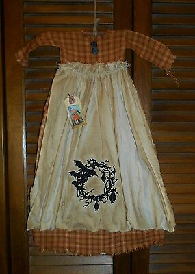 Primitive Wall Dress ORANGE PLAID Bat Wreath,Goth,Fall,Prim,Grungy,Halloween