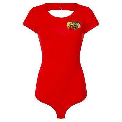 Lindy Bop Brandi Mae Red Fruit Embellished Bodysuit Rockabilly 50s Cherry 8 - 16