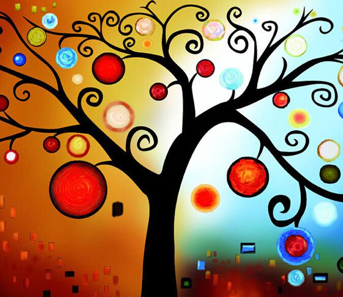 3D Albero colori Parete Murale Foto Carta da parati immagine sfondo muro stampa