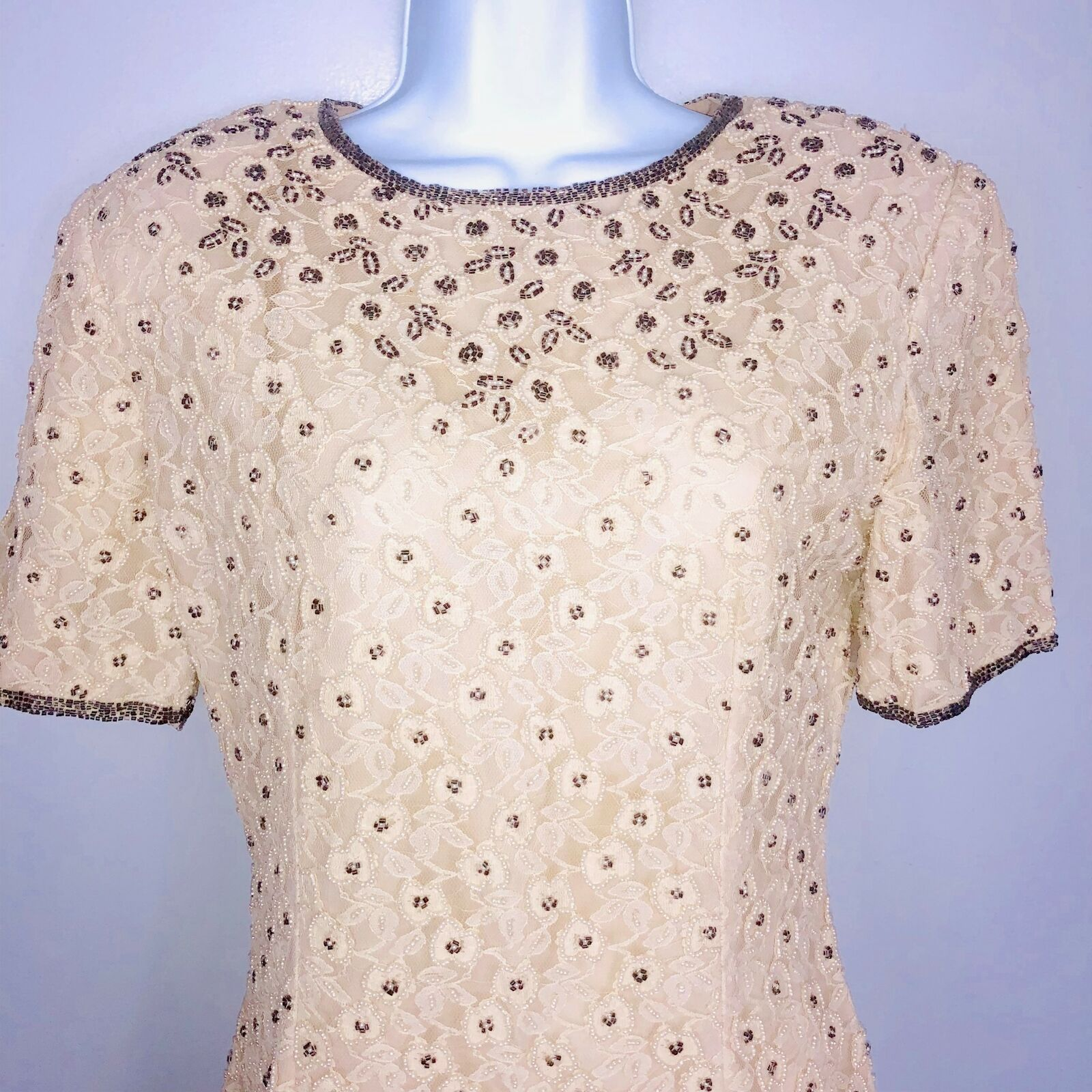 Vintage Stenay damen Dress sz 8 Cream Beaded Lace Pearl Evening vtg AZ41