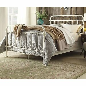 image is loading antique white iron metal bed frame set queen - Queen Iron Bed Frame